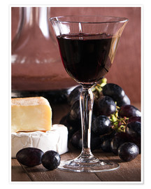 Poster Premium  Cheese platter with wine - Edith Albuschat