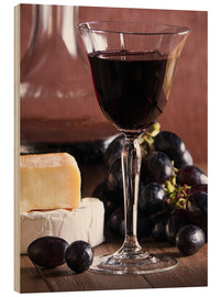 Stampa su legno  Cheese platter with wine - Edith Albuschat