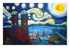 Poster Premium Starry Night over Munich inspired by Vincent Van Gogh