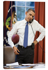 Stampa su tela  President Barack Obama talks on the phone