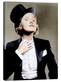 Stampa su tela  Marlene Dietrich with a suit and cylinder