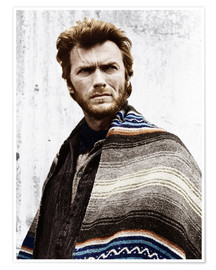 Poster Premium  Clint Eastwood with a poncho