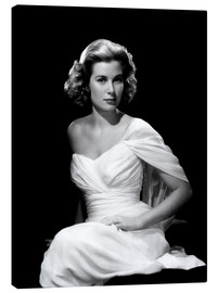 Stampa su tela  Grace Kelly in a white dress