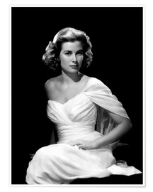Poster Premium  Grace Kelly in a white dress
