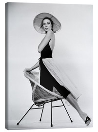 Stampa su tela  Grace Kelly with hat