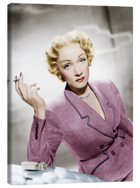 Stampa su tela  Marlene Dietrich, wearing a suit by Christian Dior
