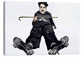 Stampa su tela  Charlie Chaplin with roller skates