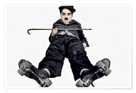 Poster Premium Charlie Chaplin with roller skates