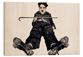 Legno  Charlie Chaplin with roller skates