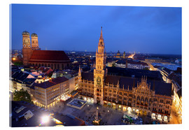 Stampa su vetro acrilico  Church of our Lady and the new town hall in Munich at night - Buellom