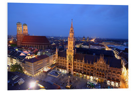 Stampa su schiuma dura  Church of our Lady and the new town hall in Munich at night - Buellom