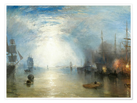 Poster Premium  Operai all'imbarco di carbone al chiaro di luna - Joseph Mallord William Turner
