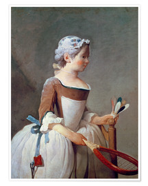 Poster Premium  Girl with Racket and Shuttlecock - Jean Simeon Chardin