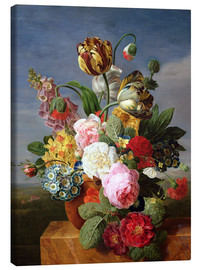 Stampa su tela  Bouquet of flowers in a vase - Jan Frans van Dael