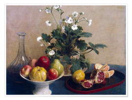 Poster Premium Flowers, dish with fruit and carafe