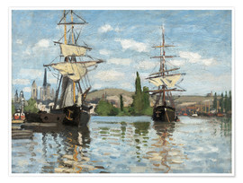 Poster Premium  Ships on the Seine at Rouen - Claude Monet