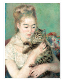 Poster Premium Woman with a cat