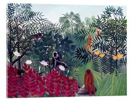 Stampa su vetro acrilico  Tropical Forest with Monkeys - Henri Rousseau
