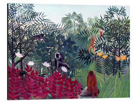 Alluminio Dibond  Tropical Forest with Monkeys - Henri Rousseau