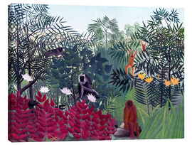 Stampa su tela  Tropical Forest with Monkeys - Henri Rousseau