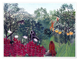 Poster  Tropical Forest with Monkeys - Henri Rousseau