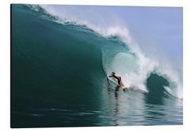 Stampa su alluminio  Surfing in a huge green wave, tropical island paradise - Paul Kennedy
