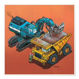 Poster  Excavator and trucks - Helmut Kollars