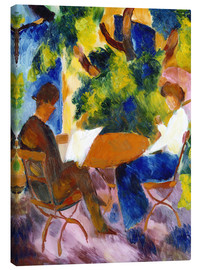 Stampa su tela  Couple at the garden table - August Macke