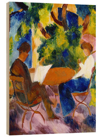Stampa su legno  Couple at the garden table - August Macke