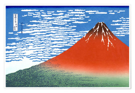 Poster  The Fuji in clear weather - Katsushika Hokusai