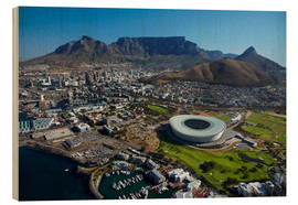 Stampa su legno  Cape Town Stadium e Table Mountain - David Wall