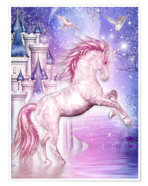 Poster Premium  Pink Magic Unicorn - Dolphins DreamDesign