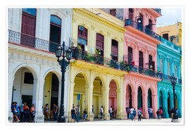 Poster  Pastel-colored building in Havana - Bill Bachmann