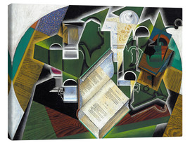 Stampa su tela  Still life with a book and glasses - Juan Gris