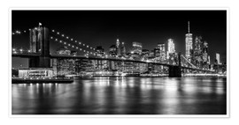 Poster  Night Skylines NEW YORK II black and white - Melanie Viola