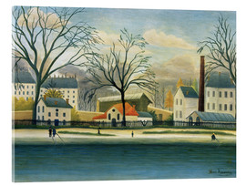 Stampa su vetro acrilico  Suburb on the banks of the Marne - Henri Rousseau