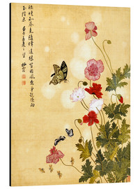 Stampa su alluminio  Poppies and Butterflies - Ma Yuanyu