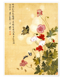 Poster Premium  Poppies and Butterflies - Ma Yuanyu