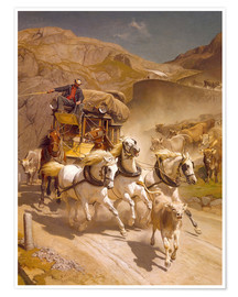 Poster Premium  The Gotthard Post, 1873 - Rudolf Koller