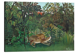 Stampa su alluminio  The hungry lion - Henri Rousseau