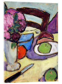 Stampa su vetro acrilico  Still Life with a chair and a vase - Alexej von Jawlensky