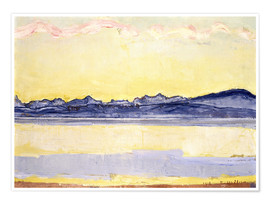 Poster Premium  Mont Blanc with red clouds - Ferdinand Hodler