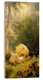 Stampa su legno  The Painter (A Rest in the Woods) - Carl Spitzweg