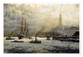 Poster Premium  The Port of Hamburg, 1893 - Georg Schmitz