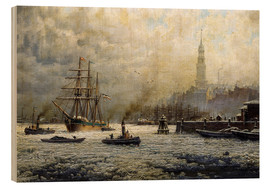 Stampa su legno  The Port of Hamburg, 1893 - Georg Schmitz
