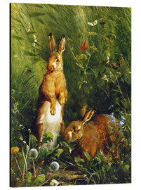 Stampa su alluminio  Rabbits in a meadow - Olaf August Hermansen