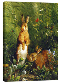 Stampa su tela  Rabbits in a meadow - Olaf August Hermansen