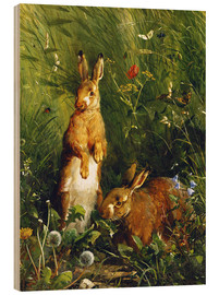 Stampa su legno  Rabbits in a meadow - Olaf August Hermansen
