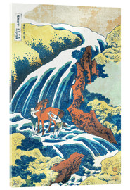 Stampa su vetro acrilico  Two men washing a horse at a waterfall - Katsushika Hokusai
