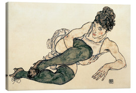 Stampa su tela  Reclining Woman with Green Stockings - Egon Schiele